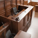 Witness stand in courtroom