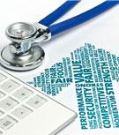 healthcare stethoscope and calculator